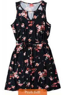 Vestido Preto Curto Floral Wee!