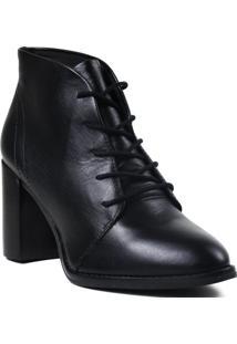 Bota Feminina Ankle Boot Loucos E Santos Em Couro