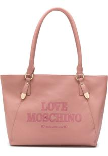 Love Moschino Bolsa Tiracolo Com Logo Bordado - Rosa