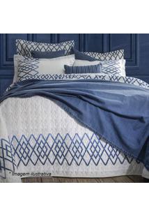 Jogo De Cama Blue King Size- Azul & Branco- 4Pã§Ssultan