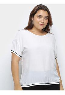 Blusa Heli Plus Size Listra Bicolor Manga Curta Feminina - Feminino