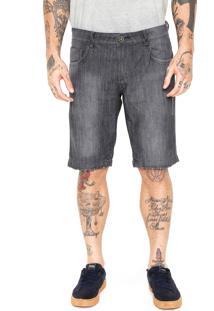 Bermuda Jeans Fiveblu Slim Desgastes Preta