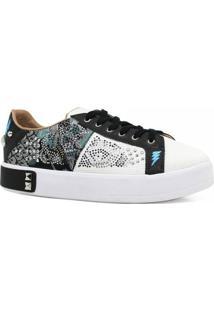Tênis Casual Zariff Shoes Flatform Metais Feminino - Feminino-Branco