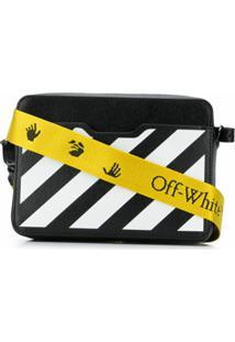 Off-White Small Diagonal Stripes Camera Bag - Preto