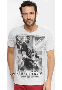 Camiseta Kohmar Rock Bandeira Masculina - Masculino-Cinza Claro