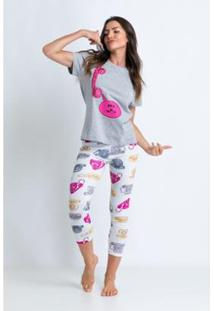 Conjunto De Pijama Acuo Estampado-Alô Alô! Feminino - Feminino-Cinza