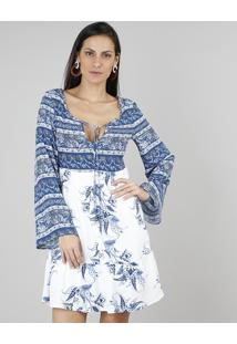 Vestido Feminino Estampado Floral Com Tassel Manga Longa Sino Azul