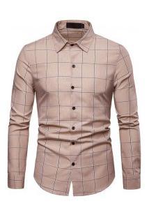 Camisa Masculina Listrada Slim Manga Longa - Cáqui