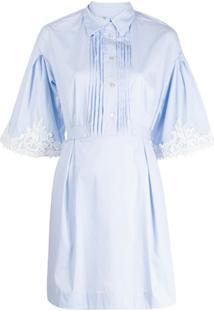 Blumarine Vestido Listrado Com Renda - Branco
