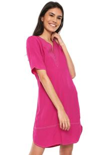 faf1dee1b ... Vestido Colcci Curto Pespontos Contrastantes Rosa