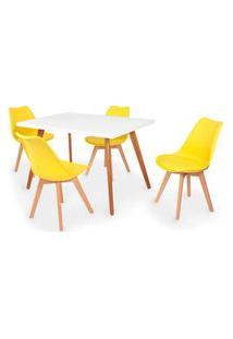 Conjunto Mesa De Jantar Gih 120X80Cm Branca Com 4 Cadeiras Leda - Amarelo
