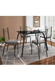 Conjunto De Mesa Com 4 Cadeiras Lotus I Preto Fosco Com Platina