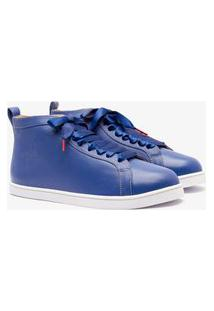 Sneaker Twins For Peace - Boubou High Top Couro Royal Blue