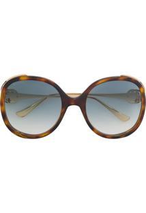 Gucci Eyewear Óculos De Sol Oversized - Metálico