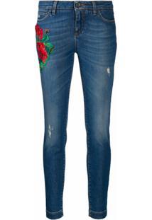 Dolce & Gabbana Calça Jeans Slim Com Bordado - Azul