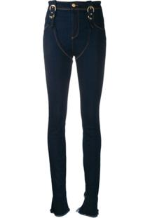 Versace Jeans Couture Chap Buckled Distress Jeans - Azul