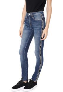 Calça Calvin Klein Jeans Skinny Listra Lateral Azul