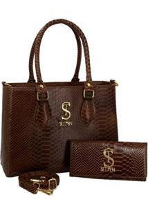 Kit Bolsa Couro Croco Anaconda Handbag Textura + Carteira Feminina - Feminino-Caramelo