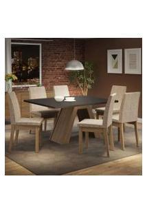 Conjunto Sala De Jantar Madesa Yasmin Mesa Tampo De Madeira Com 6 Cadeiras Rustic/Preto/Fendi