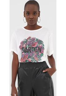 Camiseta Colcci Floral Off-White - Off White - Feminino - Viscose - Dafiti