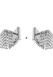 2 X Arandela De Cristal Legitimo Clearwall Perfeita - Tricae
