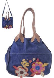 Bolsa Its! Lona Com Alça De Couro Azul - Kanui