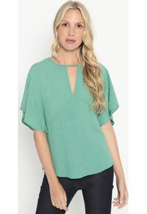 Blusa Com Vazado- Verde Água- Colccicolcci