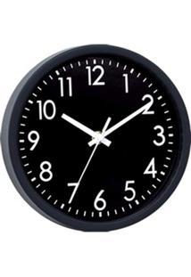 Relógio Parede Plástico Basic Black Preto 20X3,8X20 Cm Urban