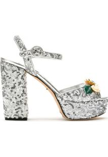 Dolce & Gabbana Sandália Meia Pata Micropaetes - Prateado