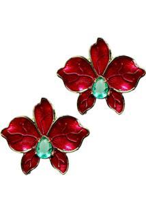 Brinco Infine Flor Vermelha Cristal Verde Banhado A Ouro - Kanui