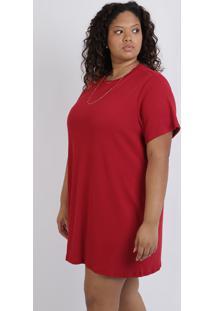 Vestido Feminino Plus Size Curto Canelado Com Bolsos Manga Curta Vermelho