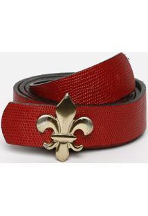 Cinto Com Logo Da Marca - Vermelho & Dourado - 3X106Dudalina