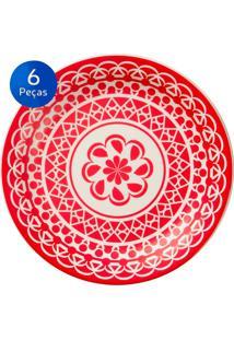 Conjunto De Pratos Rasos 6 Peças Floreal Renda - Oxford - Vermelho