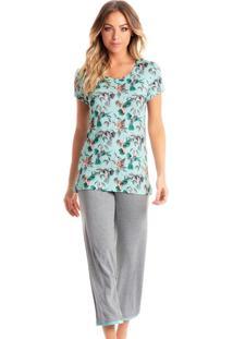 Pijama Summer Capri - Verde Claro/P