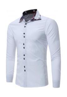 Camisa Masculina Slim Fit Sem Bolso Manga Longa - Branco
