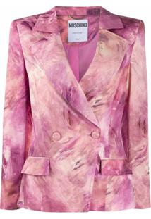 Moschino Blazer Tie-Dye Com Abotoamento Duplo - Rosa