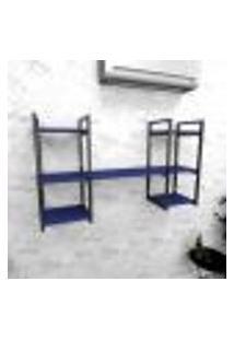 Estante Industrial Escritório Aço Cor Preto 120X30X68Cm (C)X(L)X(A) Cor Mdf Azul Modelo Ind27Azes