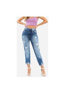 Calça Jeans Destroyed Cigarrete Feminina Bolsos Biotipo