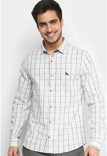 Camisa Xadrez Acostamento Manga Longa Masculina - Masculino-Off White