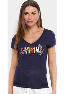 Camiseta Carmim Âncora Feminina - Feminino-Marinho