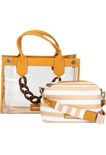 Bolsa Jorge Bischoff Shopper Transparente Transversal 2 Em 1 Feminina - Feminino-Amarelo