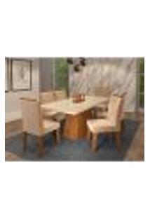 Conjunto De Mesa De Jantar Helen Com Vidro E 6 Cadeiras Clarice Suede Off White E Nude