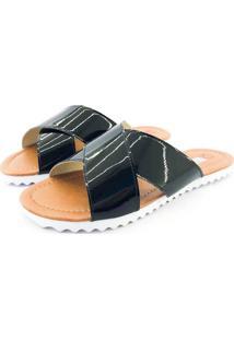 Rasteira Quality Shoes Feminina Verniz Preto 38 38