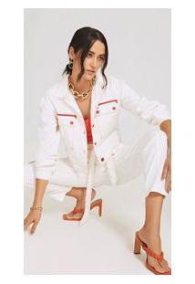 Jaqueta Morena Rosa Cropped Bolso Frente Off White