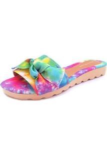 Sandalia Gomes Shoes Tecido Tie Dye Leve Confortavel Moderna - Feminino-Rosa+Verde