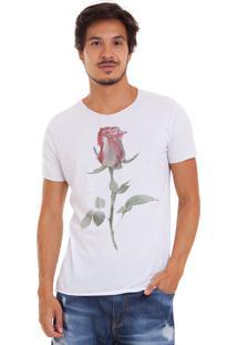 Camiseta Joss Corte A Fio Flor Da Vida Branco