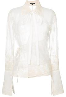 Ann Demeulemeester Blusa Com Bordado Floral - Branco