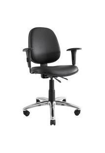 Cadeira Ergonômica Prolabore. Linha Comfort. Base Alumínio. Ajuste Lombar. Braços Ajustáveis. Encosto Médio. Revestimento Sintético. Prolabore Produtos Ergonômicos