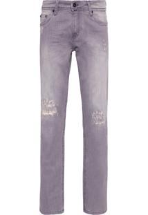 Calça Jeans Masculina Rasgos Gray - Cinza