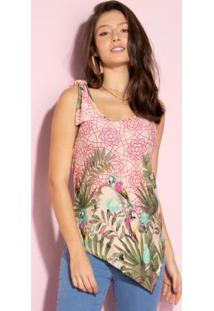 Blusa Com Barra Assimétrica Tropical Pink